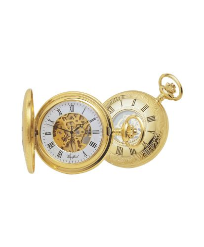 Mechanical Gold Plated Half Hunter Pocket Watch With Chain